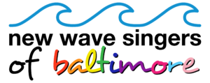 New Wave Singers of Baltimore Logo with a wave top and Baltimore in rainbow colors